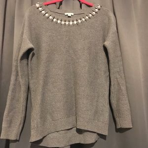 Gray Sweater with Embellished Collar